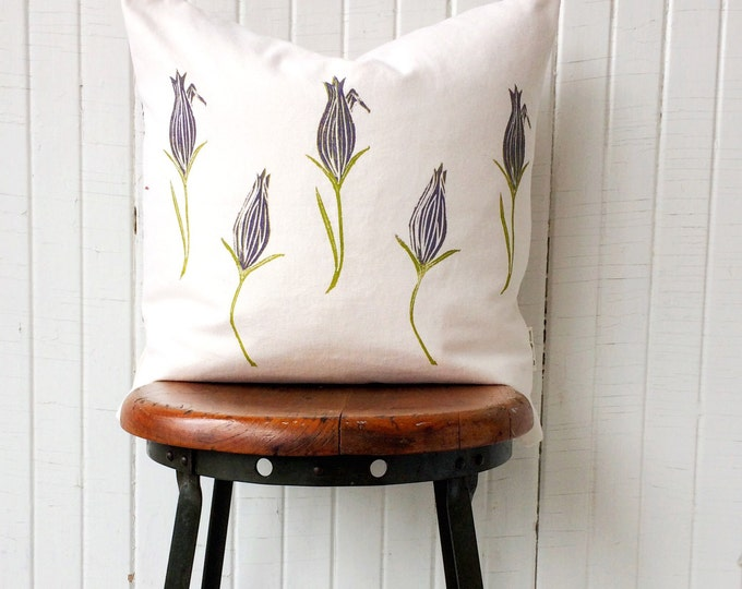 Organic cushion cover reversible cover pillow eco-friendly purple flowers or custom colours cottage decor gift for mother minimalist