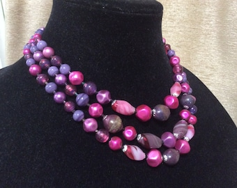 50's Pink and Purple Glass Bead Multi Strand Necklace