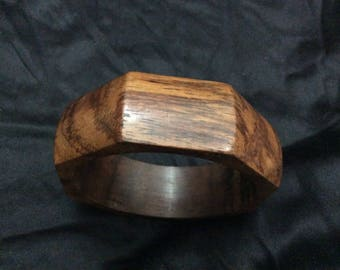 Wooden Geometric Bangle Octagonal