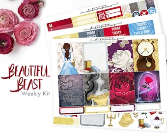 """Beauty and the Beast Planner Stickers """"Beautiful Beast"""" Weekly Kit (Erin Condren, Mambi, Happy Planner)"""