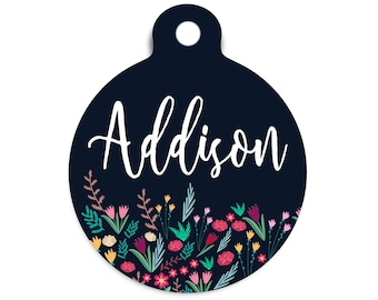 Floral Collar Tag for Pets, Floral Dog Tag for Dogs, Trendy Spring Cat Id Tag, Modern Floral Pet Id Tag, Stethoscope Name Tag for Vet, Metal