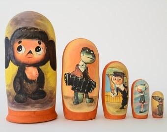 Cheburashka Russian Matryoshka Babushka Russian nesting dolls,  handmade, Free Shipping