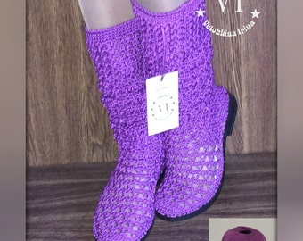 Boots are female Boots are summer knitted Footwear to order Summer footwear Women's boots Knitted boots Handmade to Order Shoes Color Purple