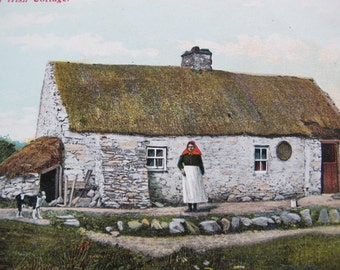 Irish Postcard An Irish Cottage (unposted) / thatched roof cottage / The N.P.O. Belfast / Vintage Irish costumes