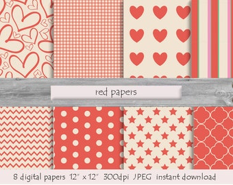 DIGITAL RED PAPER  pattern  instant download  milk white heart