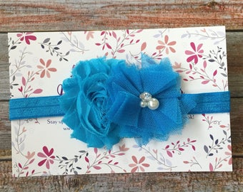 Blue Baby Headband/Baby Headband/Newborn Headband/Blue Headband/Toddler Headband/Flower Headband/Infant Headband/Baby Girl Headband/Baby