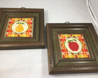 Vintage Pair of 1970s Apple and Pear Small Framed Cross Stitched Wall Hangings