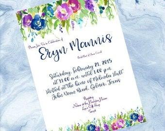 Wedding Shower Invitation - Violet Floral - Custom Invitation - Bridal Shower Invitation