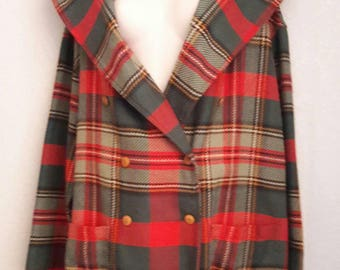 Vintage 80s 90s RUSS Red Green Plaid Blanket Coat M-L