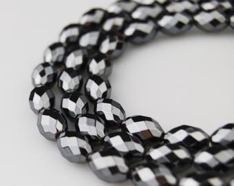 "Natural Hematite Faceted Rice Shape Loose Beads. Size 8x12mm 15.5"" Per Strand I-F-HEM-0361"