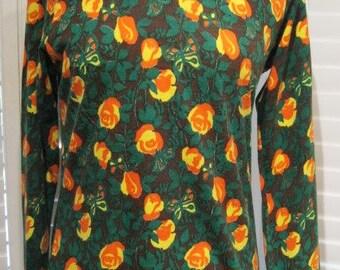 Vintage 1970s Floral Print Long-Sleeved Knit Top Size Large
