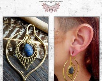 Brass stone lapis lazuli earring ethnic fairy tribal trance Bohemia Amazon gipsy roots