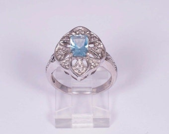 14K White Gold Filigree Aquamarine Ring, size 7