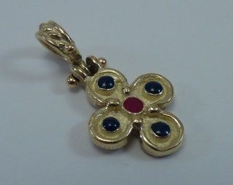 18K Yellow Gold Pendant with Red and Blue Enamel