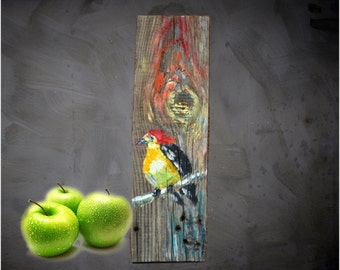 Small Painting, Wall art,Bird Painting, Unique gift, Handmade, Rustic wall art,Handpainted Wall Decoration, Original Christmas Gift 2016