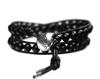 Bracelet black b6 Onyx and Sterling Silver 495