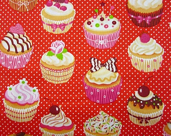 Cotton fabric red with CupCake