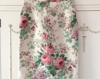 Rose print pencil skirt, linen pencil skirt rose print skirt, bridesmaid skirt, wedding guest skirt, floral pencil skirt, linen skirt,