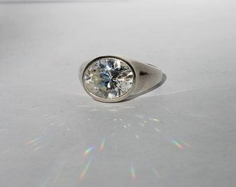 Vintage Sterling Silver Cellini Ring, Silver CZ Ring