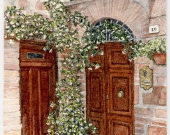 """ORIGINAL Ink and Watercolour Miniature Painting (2017) - """"Pienza Doors"""" (Tuscany, Italy)"""