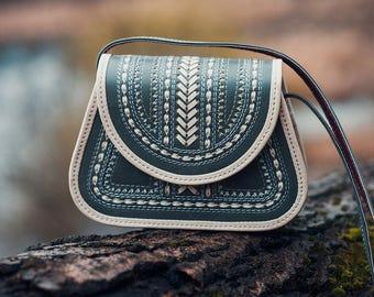 Grey & White Leather shoulder bag - crossbody bag - ethnic bag - messenger handbag - Evening handbag - Woman Handbag - Ladies Bag - designer