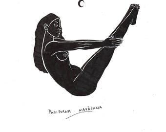 Paripurna Navāsana Illustration, Digital Print