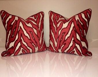 Set of 2 Pillow Covers -Robert Allen Smooth Move - Luxury Pillow -Designer Pillow Cover -Zebra Pillow Cover -Red Throw Pillow
