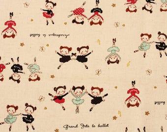 "Ballerina Ballet Dancer Girls Linen Fabric made in Korea 18"" X 55"" by the Half Yard"