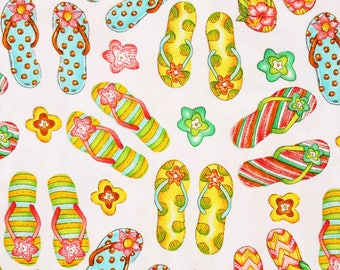 Sandals Flowers printed Fabric for Blank Quilting Pink Lady by the Half Yard