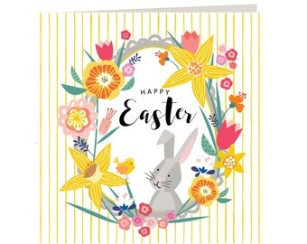 Breton Collection - Happy Easter Card - Floral - Stripes - Laura Darrington Design - BR26