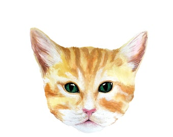 Ginger Cat Kitten Print - Watercolour Painting
