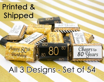 80th Birthday Party Decorations - Gold & Black - Stickers for Hershey's Miniature Bars (Set of 54)