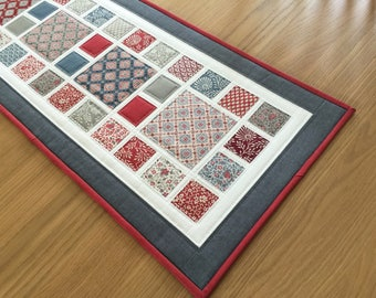 Modern Table Runner, Quilted Table Runner, Red Fabric Table Topper, Patchwork Table Runner, Table Centrepiece, Quilted Table Mat