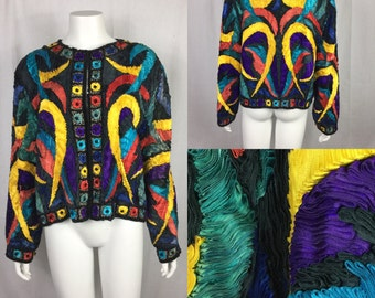 Vtg 80s couture ribbon art to wear wearable art ribbon avant garde jacket cropped