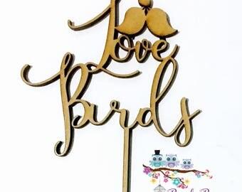 Wedding Cake Topper   Custom Cake Topper   Personalised Cake Topper   Wedding Cake Topper  Silhouette Cake Topper- Love Birds