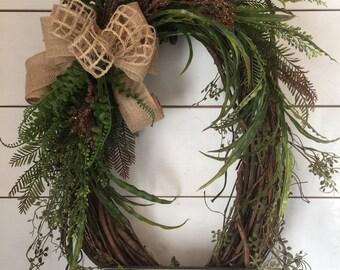 Oval grapevine wreath, natural wreath, greenery wreath, year round wreath, Large wreath, door wreath, rustic wreath, last name wreath, gift