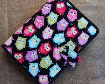 A5 Binder cover Planner Cover Fabric A5 Binder baby owl Binder cover with 6 ring binder notebook ready to ship A14