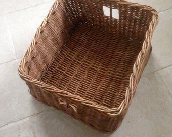 Great old rectangular linen, woven Wicker, French wicker basket