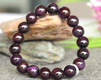Natural Genuine Dark Purple Sugilite Stretch Finish Bracelet Round beads 11mm  03779