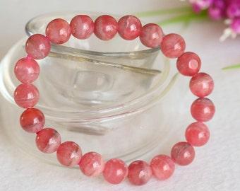 Genuine Natural  Argentina Pink Red Rhodochrosite Stretch Bracelet Round 8.5mm Beads 04395