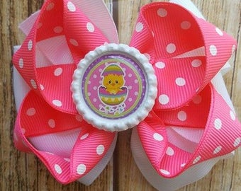 Large Boutique Bow - Easter Chic Bow  - Layered Ribbon Bow - Lined Clip Bow - Party Bow - Summer Bow - Girls Boutique Easter Bow - Pink Bow