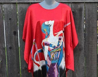 Vintage Kimono Tunic Shirt Dress, Lightweight Pullover Tunic, Kimono Top, Size Large / XLarge