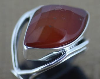 925 Sterling Silver Ring  Red Onyx Gem Stone