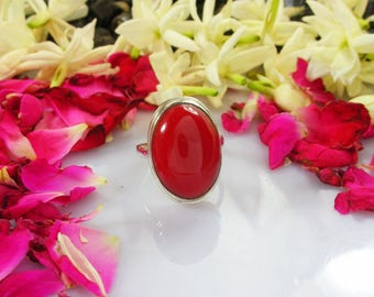Ethnic Ring, Red Coral Ring, Artisan Ring, Round Ring, Custom ring, Gemstone ring, Sterling silver, Gift for her, Handmade Jewelry Gift