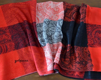 Pashmina Scarf red / black, Scarf for Women, Shawl