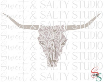 lace steer skull digital file