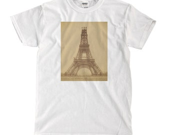 Eiffel Tower Half-Built - White T-shirt