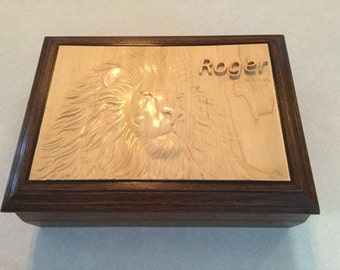 Handmade Wooden Mahagony and Maple Box with Lion Carving