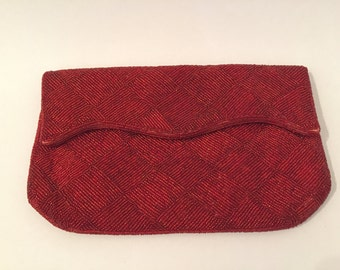 Red Beaded Clutch - Evening Clutch - Red Handbag - Vintage Purse