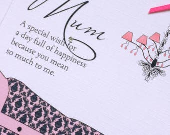 Handcrafted Mother's Day Card - Boutique Chic (Design 1)